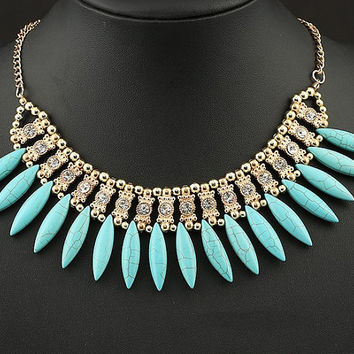 Turquoise Crystal Tassel Retro Statement Necklace Chunky Necklace Wedding Necklace