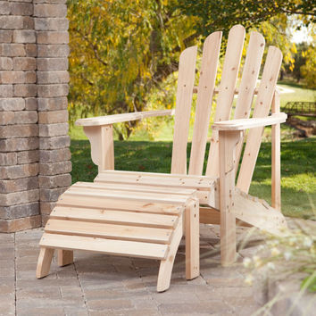 Weather-Resistant Unfinished Fir Wood Adirondack Chair and Ottoman Set