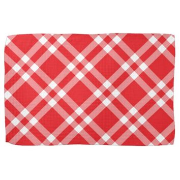 Red Gingham Pattern Hand Towel