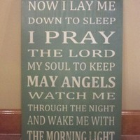 Now I Lay Me Down To Sleep Word Art Typography Wood Sign | SignsofElegance - Children's on ArtFire