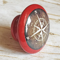 Nautical Compass Knob Drawer Pulls, Antique Style Cabinet Pull Handles, Beach Style Dresser Knobs, Espresso Over Tuscan Red, Made To Order