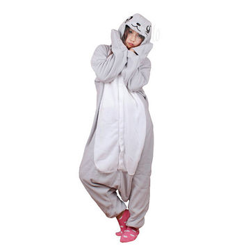 KIGURUMI Cosplay Romper Charactor animal Hooded PJS Pajamas Pyjamas Xmas gift Adult  Costume sloth  outfit Sleepwear--seal