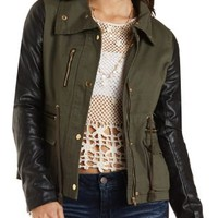 Faux Leather & Twill Utility Jacket by Charlotte Russe - Olive Combo