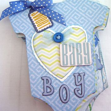 Baby Boy Onsie Mini Photo Album or Scrapbook