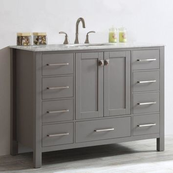 "48"" Single Bathroom Vanity Set - Marble Sink Top - 9 Drawer (Gray/White/Espresso)"