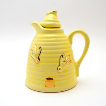 Vintage Yellow Ceramic Bee Honey Pot, 2 Piece Set with Pitcher and Lid, Beehive Shaped Honey Jar, circa 1950s-1960s