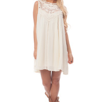 Cream Crochet Detail Flowing Dress