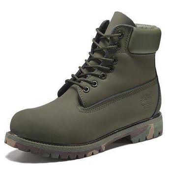DCK7YE Best Deal Online Timberland 10061 Leather Lace-Up Boot Men Women Shoes Army Green
