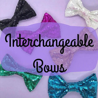 Additional Bows for Interchangeable Ears | Sequin Bow | Velvet Bow | Headband Ear Bow