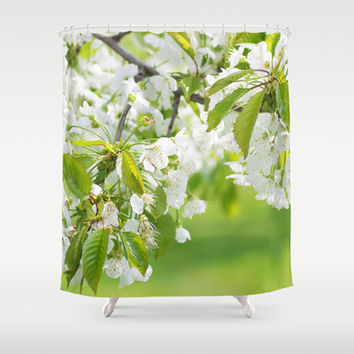 White cherry blossoms romance Shower Curtain by Tanja Riedel