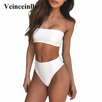 White Bandeau High Cut Bikini Bandeau Swimwear female two pieces swimsuit High Waist Bikini set Women Bathing Suit biquini Y485
