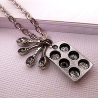 Muffin Pan Cupcake Necklace With Measuring Spoon Charm