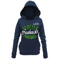 Women's Seattle Seahawks 5th and Ocean by New Era College Navy Trick Play Pullover Hoodie