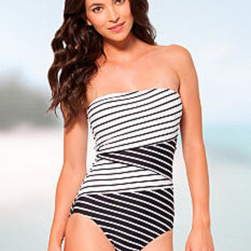 Anne Cole Signature® Simple Stripe One-Piece Bandeau - Belk.