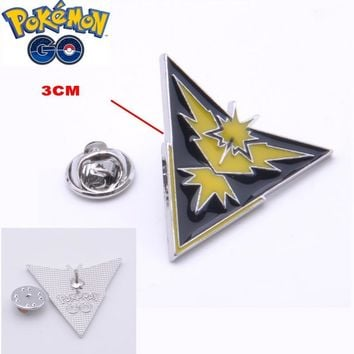 Mew  GO Team Instinct Badges Metal Pins with wooden Box Cosplay Collection Box Gift For Kids AdultKawaii Pokemon go  AT_89_9