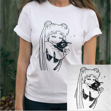 Anime Shirt Sailor Moon Shirt Usagi Luna Anime Tee Kawaii Otaku Cosplay Tumblr Manga Printed Japanese Anime Gift for Her