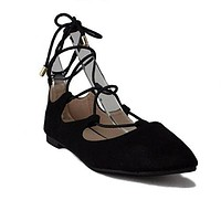Women's Rylee Suede Ankle Tie Pointy Toe Flat Shoes