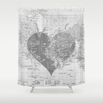 Heart Map Shower Curtain -  Map of the world Minimalist Grey Vintage Map - Home Decor travel decor, wedding, valentine, couples - Bathroom