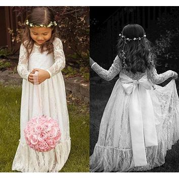 Bohemian Long Sleeve Lace Flower Girl Dresses for Party and Wedding Floor Length Baby Prom Dress Children First Communion Dress