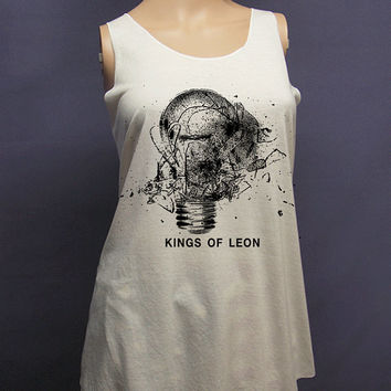Kings of leon, tank top , women tank top, off white shirt, screenprint, tunic, clothing tshirt, lady shirt, rock tee, S/M , L/XL size