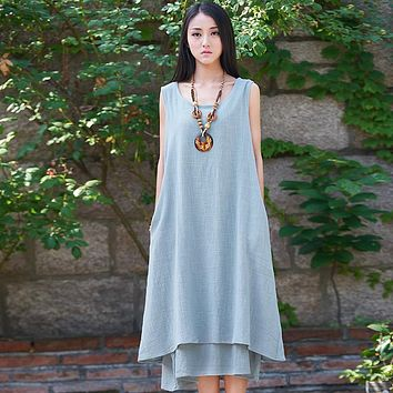 Solid Linen Sleeveless Women Dress Original Brand Casual Loose Tank Dresses Summer Mori girl style Vintage Linen Midi Dress C102