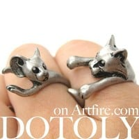 Cat and Mouse Animal Wrap Ring Set in Silver - Sizes 5 to 9 Available