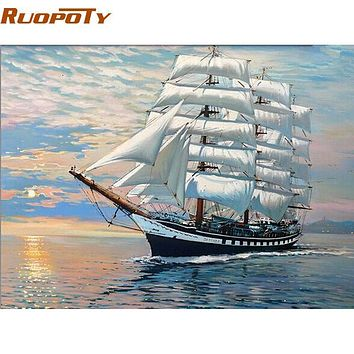 RUOPOTY Sailing Boat DIY Painting By Numbers Modern Abstract Handpainted Oil Painting Home Decoration For Wall Art Picture