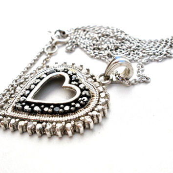 Diamond Heart Necklace, Sterling Silver, Hematite Jewelry, Vintage Necklaces, Pendant And Chain, Fashion Jewellery, Wedding Bridal