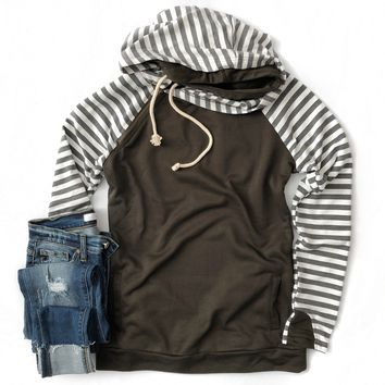 Olive and Charcoal Striped Hoodie