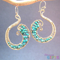 """Turquoise wrapped on hammered swirl shapes, 2"""" Earring Gold Or Silver"""