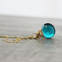 Teal Gemstone Necklace, Gold Fill Necklace, Wire Wrap Pendant Necklace, Quartz Drop Necklace, Dainty Necklace, Delicate Blue Necklace