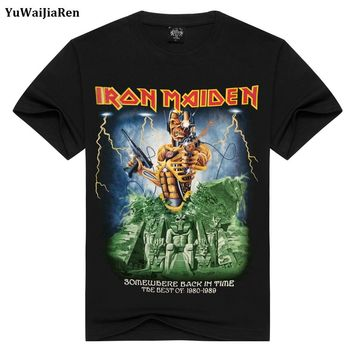 Iron Maiden Skull Print Heavy Metal Rock Hip Hop Punk Swag Hipster Tee Shirts Anime