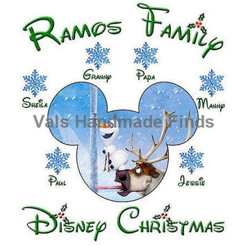 Disneys Frozen Christmas Disney Vacation Disney World Disneyland Personalized w/ Name/Date Printable Iron On Transfer DIY Instant Download