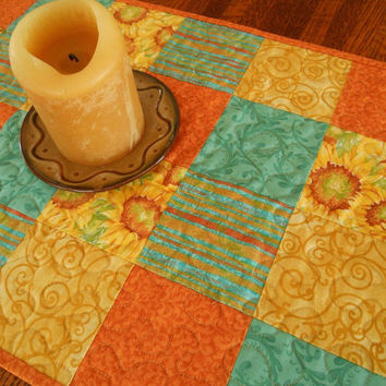 Summer Sunflowers Quilted Table Runner in Bright Yellow Orange and Teal - Table Quilt