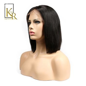Cool Lace Front Human Hair Wigs For Women Natural Black Color Short Bob Wigs Brazilian Remy Hair Straight Full End King Rosa QueenAT_93_12