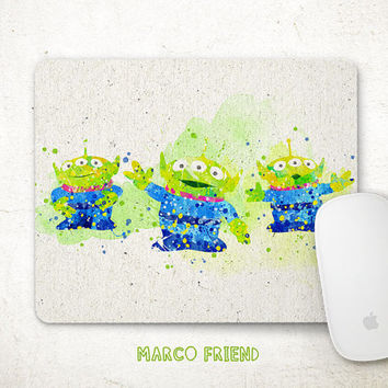 Toys Story Mouse Pad, Green Alien Mousepad, Disney Watercolor Art, Desk Decor, Gifts, Art Print, Kids Room, Computer Accessories