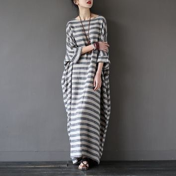 Striped Batwing Sleeve Casual Linen Dress