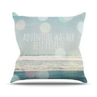 "Susannah Tucker ""Adventure Was Her Best Friend"" Blue White Throw Pillow"