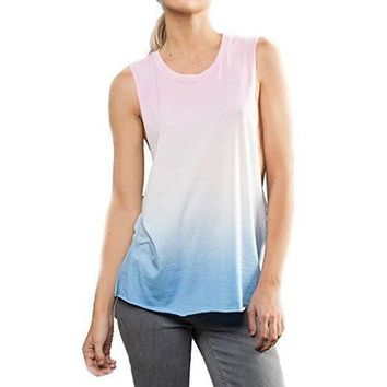 Yoga Clothing for You Womens Side Cut Ombre Muscle Tank Top