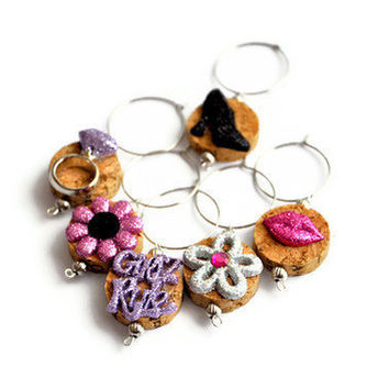Girls Rule Wine Cork Wine Glass Wine Charms -  (Set of 6)