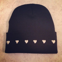 Adorable black beanie with silver heart studs by LucyandDiamonds