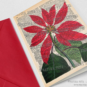 Poinsettia flower Merry Christmas Greeting Card-4x6 in-Poinsettia card-Christmas card-Stationery card-Design by NATURA PICTA NPGC070