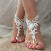 Free Ship ivory or white  flexible lace sandals,  lace Barefoot Sandals, french lace, Beach wedding barefoot sandals