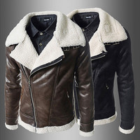 Sheep Fleece Biker Zip Mens Leather Jacket
