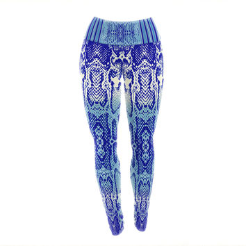 "Nina May ""Delf Snake"" Blue Aqua Yoga Leggings"