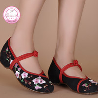 Plum Flower Canvas Flats Size(34-41) Black beige Chinese Style National Comfortable Soft Sole Embroidery Cloth Dance Shoes