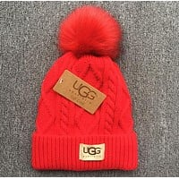 UGG Autumn Winter Warm Trending Women Men With Small Ball Wool Thick Knit Hat Cap(6-Color) Red