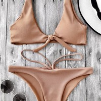 Knotted Textured Scoop Bikini Set