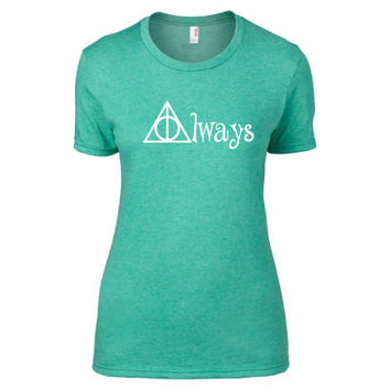 Harry Potter Inspired Clothing - Hallows Always Heathered Crew Neck - Ladies