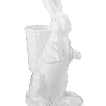 White Ceramic Bunny with Basket